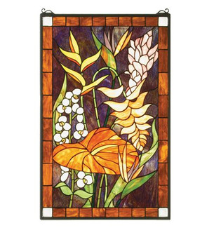 20''W X 32''H Tropical Floral Stained Glass Window (96 51539)