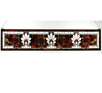 57''W X 9.5''H Beveled Ellsinore Transom Stained Glass Window (96 31368)