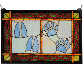 26.5''W X 17.5''H Deer & Cougar Tracks Stained Glass Window (96 74144)