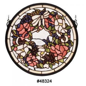 15''W X 15''H Revival Wreath & Garland Medallion Stained Glass Window (96 48324)