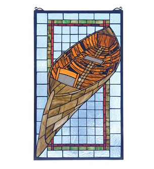 15'' Wide X 25'' High Guideboat Stained Glass Window (96 21439)