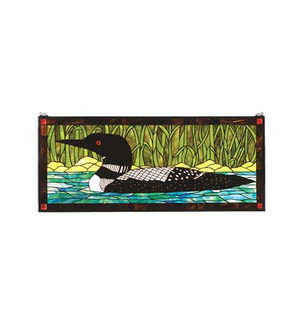 40''W X 17''H Loon Stained Glass Window (96 14625)