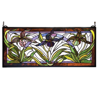 29''W X 13''H Lady Slippers Stained Glass Window (96 22928)