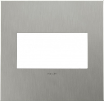 adorne® Brushed Stainless Steel Two-Gang Screwless Wall Plate (1452 AWC2GBS4)