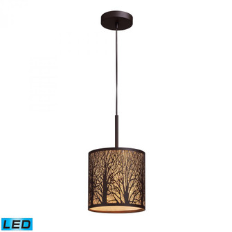 Woodland Sunrise 1-Light Mini Pendant in Aged Bronze with Woodland Shade - Includes LED Bulb (91|31073/1-LED)