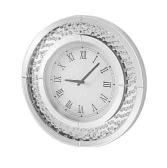 Sparkle 20 in. Contemporary Crystal Round Wall clock in Clear (758 MR9115)