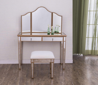 Vanity Table 42 in. x 18 in. x 31 in. and Mirror 39 in. x 24 in. and Chair 18 in. x 14 in. x 18 in.? (758|MF6-2004G)