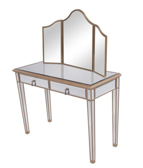 Vanity Table 42 in. x 18 in. x 31 in. and Mirror 39 in. x 24 in. (758|MF6-2003G)