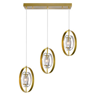 3 Light Island/Pool Table Chandelier with Brass Finish (3691|1224P22-3-625)