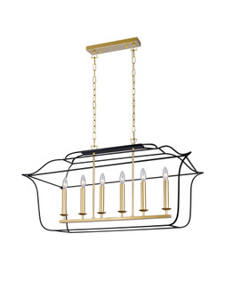 6 Light Island/Pool Table Chandelier with Satin Gold & Black Finish (3691|1223P36-6-602)