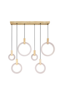 LED Island/Pool Table Chandelier with White Oak Finish (3691|1214P52-6-236-RC)