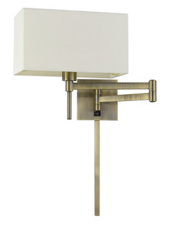 60W Robson Wall Swing Arm Reading Lamp With Rectangular Hardback Fabric Shade. 3 Ft Wire C (162 WL-2930-AB)