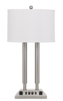 60W X 2 Metal Desk Lamp With 2 USB And 2 Power Outlets, On Off Rocker Base Switch (162|LA-2004DK-3R-BS)