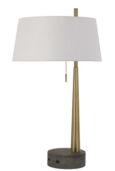 Rovigo Metal/Wood Desk Lamp With 2 USB Charging Ports And Pull Chain Switch. (162|BO-2894DK)