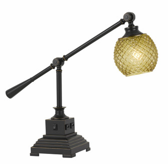 60W Brandon Metal Desk Lamp With Glass Shade And 2 USB Outlets (162|BO-2777DK)