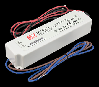 Hardwire power supply, 24 Volt DC, 1-60 watts, Not dimmable (44 LED-DR60-24)