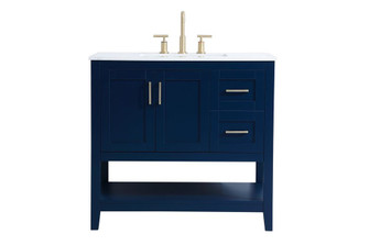 36 inch Single Bathroom Vanity in Blue (758|VF16036BL)