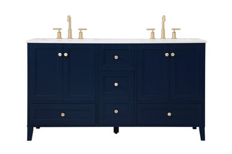 60 inch Double Bathroom Vanity in Blue (758|VF18060DBL)