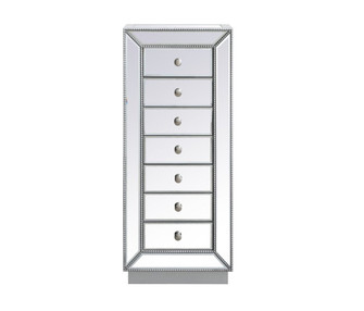 18 inch mirrored lingere chest in antique silver (758 MF53047S)