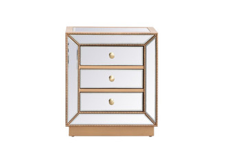 21 inch mirrored chest in antique gold (758 MF53016G)