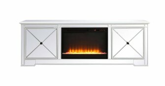 Modern 72 in. mirrored tv stand with crystal fireplace in antique white (758|MF60172AW-F2)