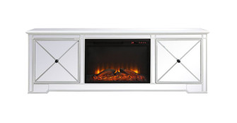 Modern 72 in. mirrored tv stand with wood fireplace in antique white (758|MF60172AW-F1)