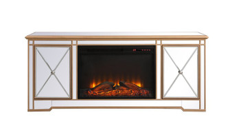 Modern 60 in. mirrored tv stand with wood fireplace in antique gold (758|MF60160G-F1)