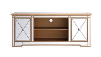 Modern 60 in. mirrored tv stand in antique gold (758|MF60160G)