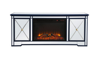 Modern 60 in. mirrored tv stand with wood fireplace in blue (758|MF60160BL-F1)
