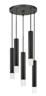 Troy integrated LED Dimmable Hexagon Aluminum Casted 5 Lights Pendant With Glass Diffuser (162 FX-3723-5P-GM)