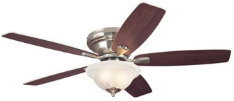52 in. Brushed Nickel Finish Reversible Blades (Weathered Maple/Beech) White Alabaster Glass (32 7247600)