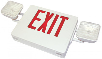 COMBO LED Exit/Emerg. Light Sgl/Dbl Red Letters, white housing, w/Remote Ca (193 CXTEU2RW-RC)