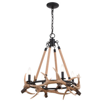Breckenridge 23.25-in. 4 Light Antler Chandelier Aged Iron with Natural Rope (51|H0262)