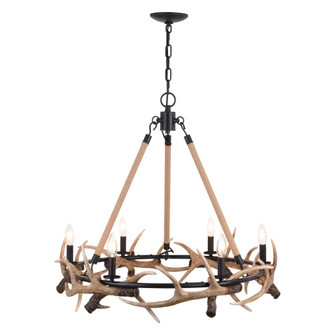 Breckenridge 30.5-in. 6 Light Antler Chandelier Aged Iron with Natural Rope (51|H0261)