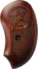 Bond Arms brown rosewood grip. The top of the grip has a large star engraved, and under it is engraved a large textured area providing better grip and feel.