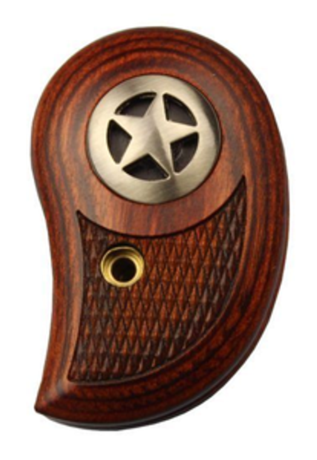 Bond Arms brown wooden Rosewood gun grip with silver star on the side. Textured engraving on the bottom of the grip provides extra grip and feel.