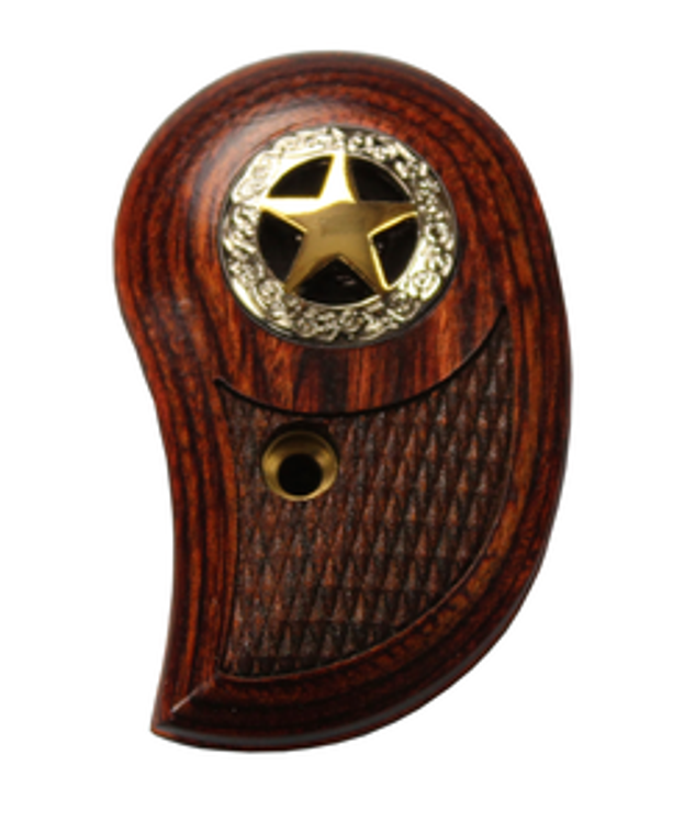 Bond Arms Brown Wooden Gun Grip With Silver Circle and Gold Star, textured engraving under star for added grip and feel.