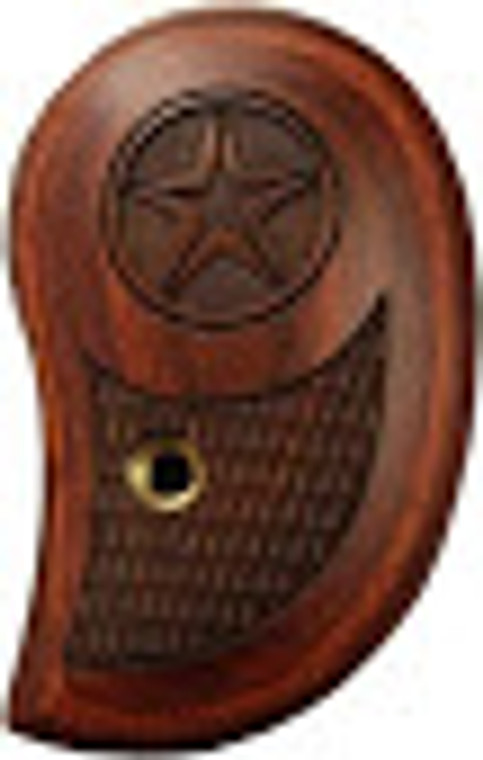 Bond Arms smooth brown wooden Rosewood gun grip with a star engraved on the top. Engraved texture on the bottom of the grip provides extra grip and feel.