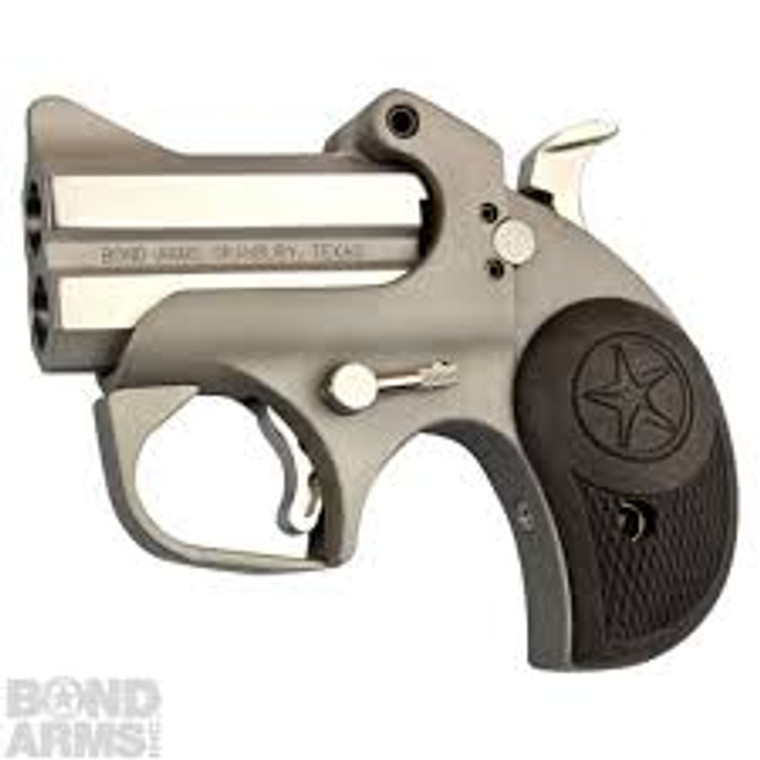 """Model: Bond Arms - Roughneck Model #: BARN Caliber: .357Mag/38Spl, 45ACP, 9mm Barrel Length: 2.50"""" Grip Material: Rubber Sights: Front blade, fixed rear Trigger Guard: Yes"""