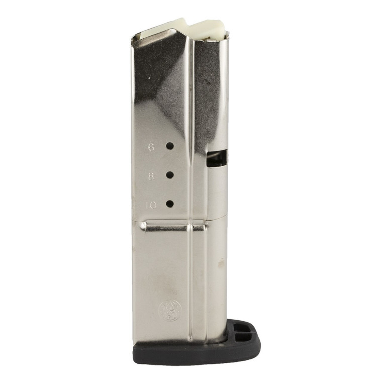 The SD magazines are made of stainless steel. The 9mm versions (SD9/SD9VE) come in either 10 or 16 rounds and the 40 caliber versions (SD40/SD40VE) come in either 10 or 14 rounds.  Caliber: 9mm Capacity: 10 Round Finish: Stainless Model: SD9/SD9VE Material: Steel Type: Detachable Brand Fit: Smith & Wesson