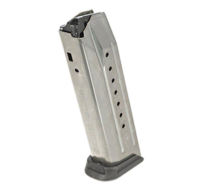 This is an original equipment manufacturer replacement or spare magazine for the Ruger American Pistol 9mm Luger. It's constructed from stainless steel and holds 17 rounds of 9mm Parabellum ammunition.   Specifications and Features: Ruger 90510 American Pistol Magazine 9x19mm Luger 17 Round Capacity Stainless Steel  Fits: Ruger American Pistol 9mm Luger