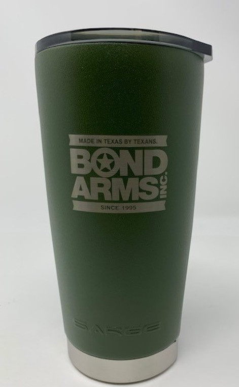 Sarge Desert Green Bond Arms 20oz tumbler Clear Shatter-Proof Lid with Dual Lifting Tabs & Black Gasket Ring