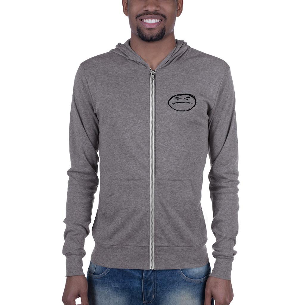 Grumpy lightweight zip hoodie (grey)