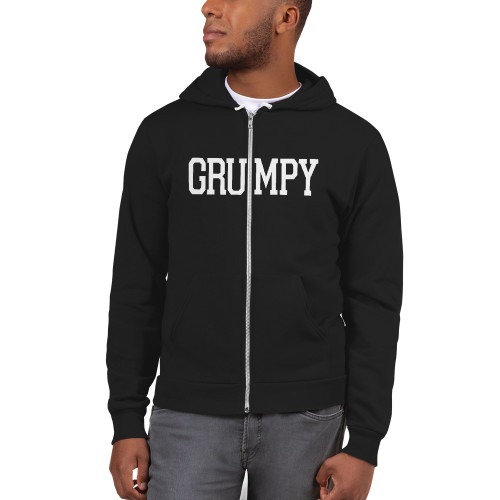 Grumpy Text flex fleece zip hoodie