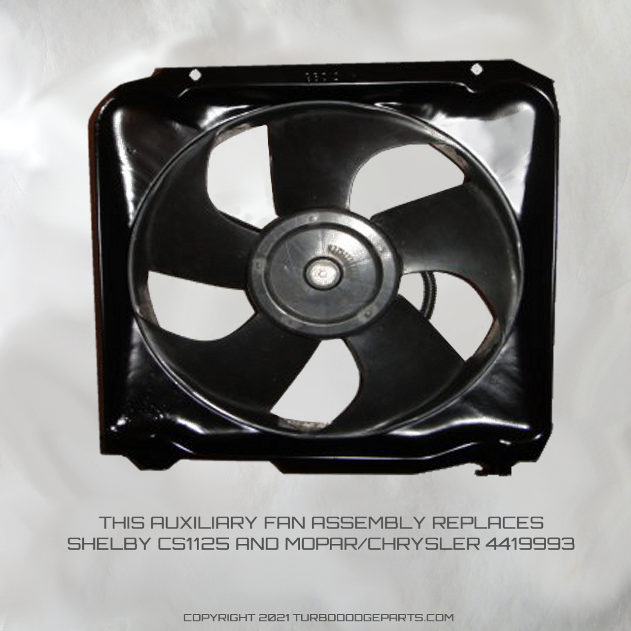 Shelby CS1125, MOPAR/CHRYSLER 4419993, Replacement auxiliary/radiator electric fan motors for the 1986 and 1987 Shelby GLHS cars.