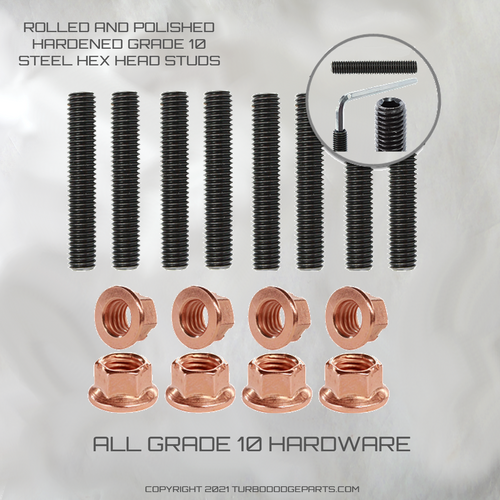 TURBO DODGE HEX ALLEN EXHAUST OR INTAKE STUDS WITH COPPER  FLANGE NUTS