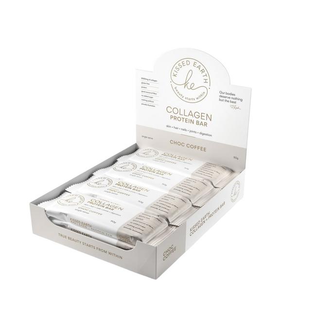 Kissed Earth Collagen Protein Bar Choc Coffee 12x50g