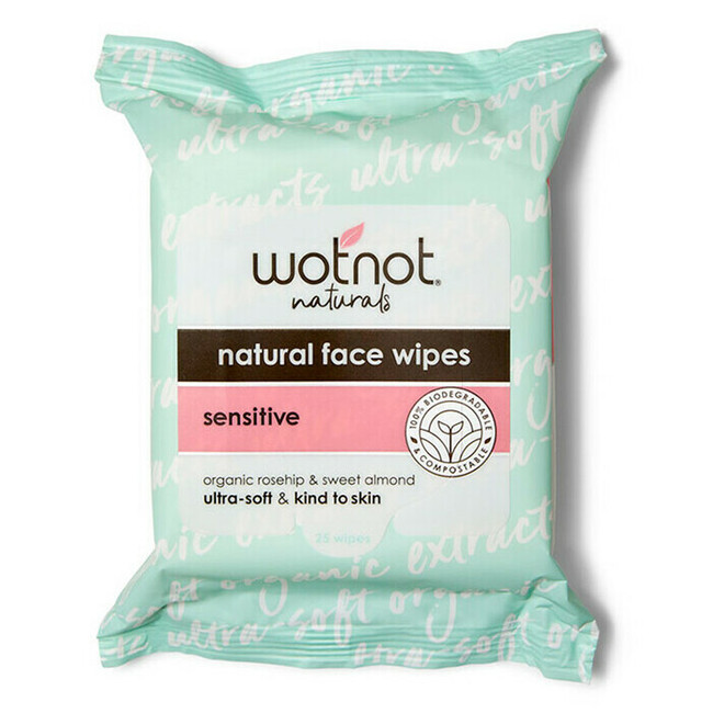 Wotnot Natural Face Wipes Soft Sensitive - All Skin Types 25pk