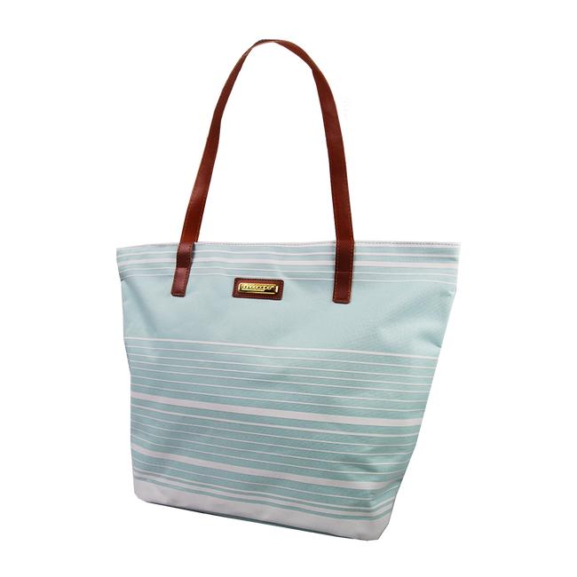 Sunescape Striped Beach Tote With Faux Leather Handle