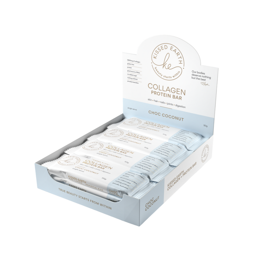 Kissed Earth Collagen Protein Bar Choc Coconut 12x50g